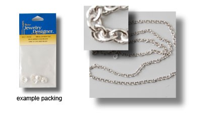 Chain bright silver large link 46 cm.